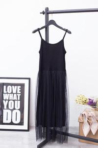 2018 Hot Fashion Pure Cotton Lace Split Joint Camisole Dress, maglia nera Stitching Sexy senza maniche YD8100