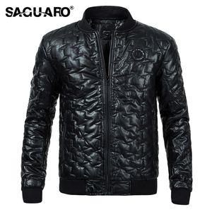 SAGUARO Brand Faux Leather Jackets 웜 코튼 패딩 윈터 자켓 남자 2017 패션 스탠드 칼라 지퍼 남자 윈드 브레이커 코트
