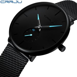 Crrju Fashion Mens Watches Top  Quartz Watch Men Casual Slim Mesh Steel Waterproof Sport Watch Relogio Masculino