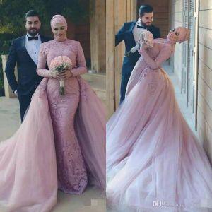 2019 robes de mariée musulmanes arabes dentelle amorties appliquées robes de mariée à manches longues avec train détachable Train de balayage sur mesure