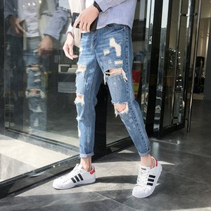 2018 Summer New Style Denim para hombres Big Hole Trend Personalidad de moda cintura baja Youth Nine Points Slim Jeans