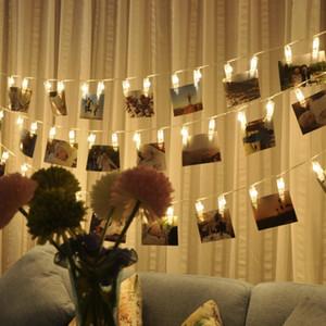 Décoration du foyer 1 -5m Clip Led décoration de mariage lumière chaîne personnalisée Starry Porte Photo Guirlande Birthday Party de Noël Décor