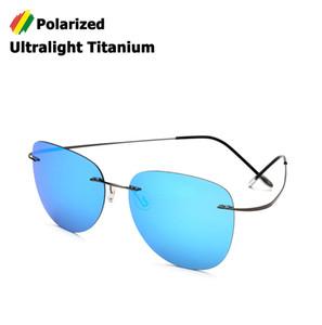Atacado new fashion men condução ultraleve titanium óculos polarizados óculos de sol da marca design sem ar aviação óculos de sol oculos de sol
