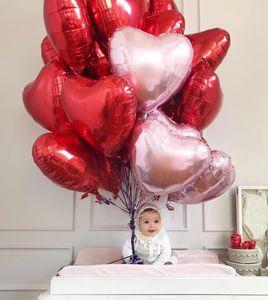 50PCS 18 인치 하트 호일 풍선 결혼식 생일 발렌타인 데이 파티 마음 사랑 헬륨 Balaos 장식 베이비 샤워 선물