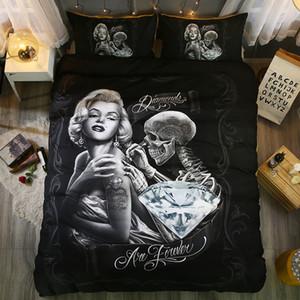 3D Marilyn Monroe capa de edredão set EUA king size preto Crânio Cama roupa de cama 3d bedclothe Têxteis de Casa EUA Rainha da moda cama conjunto 2/3 pcs