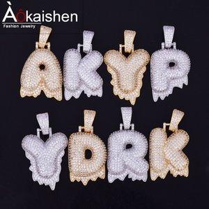 Nome personalizzato Bubble Lettere Collana pendente Gioielli Hip Hop Venditore caldo Uomo Zircone cubico Due colori per catena corda