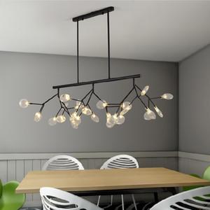 اليراع فرع الإبداعية الحديثة led زجاج الثريا ل غرفة المعيشة غرفة الطعام مصابيح مطعم بريقا واضح زجاج شحن مجاني