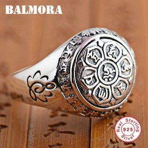 BALMORA Vintage 100% Reale 925 Gioielli In Argento Sterling Buddistico Six Words 'Mantra Anelli per Le Donne Gli Amanti Degli Uomini Regali SY20992 D18111306