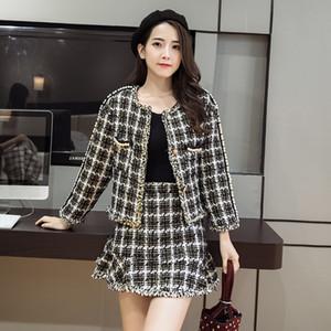 Giacca in tartan bianco e nero + pacchetto coda di pesce hip gonna tuta invernale donna cappotto moda donna lana due pezzi