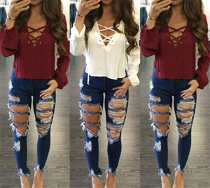 30 unids Mujeres Jeans Agujero Pantalones Rasgados Estirar Tight Jeans Pantalones de Mezclilla de Las Mujeres Pantalones Lápiz Ocasional Pantalones de Mezclilla M332