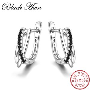 [BLACK AWN] Echtes 925 Sterling Silber Ohrringe Creolen für Frauen Schwarz Spinell Silber 925 Schmuck I023 S18101307