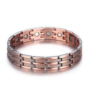 2018 Negative Ionen Armband Leaf Streifen alle magnetischen Kupfer Energie Armband antike Männer Cross Border gesunde Hand Ornamente