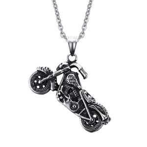 El motorista fantasma para hombre del punk rock colgantes de los collares de acero inoxidable de la manera collar de la motocicleta de los hombres de joyería de plata antigua