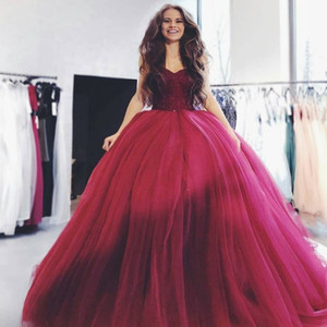Puffy Tulle Ball Gown Sweet 16 Abiti Fluffy Wine Red Quinceanera Dress 2018 Borgogna Prom Dresses Sexy Abiti da abiti da festa
