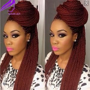 anteriore del merletto a treccia Parrucche colore bordeaux parrucca box treccia lunga brasiliana per le donne nere sintetica Micro capelli Avana Twist Parrucche