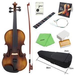 AV-508 4/4 Tam Boyut Akustik Keman Fiddle Kiti Masif Ahşap Mat Finish Ladin Yüz Kurulu 4-String Enstrüman ücretsiz kargo