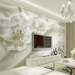 Taille sur mesure Tous 3D Papiers peints Papier peint de fleurs en soie style européen fond TV 3D Grand mur Peinture Salon mural Papier