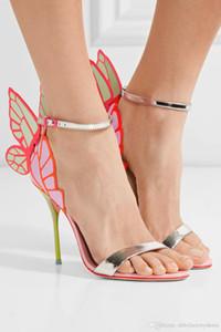 Sophia Webster Düğün Gelin Pompalar Hakiki deri Kelebek yüksek topuklu Bayanlar Yaz Sandalet vangeline Melek-kanat Gladyatörler