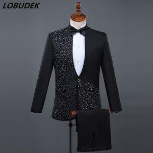 (Jacket + Calças) ternos masculinos Formais preto branco Brilhante Diamante terno 2 peça define anfitrião cantor dançarina Mestre para trajes de Desempenho Do Casamento