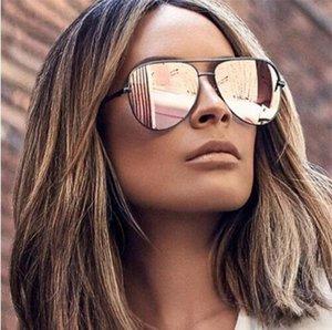 Pembe Güneş Gümüş Ayna Metal Güneş Gözlükleri Pilot Güneş gözlüğü Kadınlar Erkekler Shades En Moda Gözlük Lunette