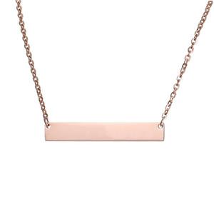 Bar Collana 3 colori personalizzata vuoto in acciaio inox Nome personalizzato Piastra collana può incidere Word ingrosso lettere gioielli