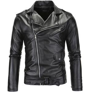 Erkek Streetwear PU Deri Ceket Metal Düğmeler Fermuar Biker ceketler Siyah Beyaz Kış WINDBREAKER Ücretsiz Kargo