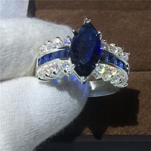 vecalon Gioielli Marquise Cut 5ct Blu Diamonique Cz 925 Anello in argento sterling con fedi per le donne