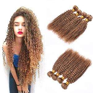 Capelli crespi umani crespi tessere 4 pacchi # 27 miele biondo puro colorato brasiliano vergine capelli umani ricci 4 pezzi estensione dei capelli 10-26 pollici