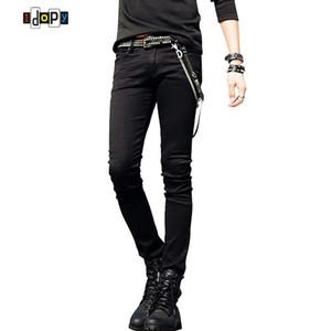 Sıcak Satış Erkek Kore Tasarımcı Siyah Slim Fit Jeans Punk Erkek Zinciri Ile Serin Süper Sıska Pantolon