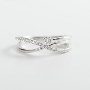 Real 925 Sterling Silver Ring for Women Cross X Shape Exquisite Party Cocktail Rings Zircon Micro Paved Jewelry YMR187