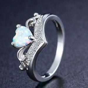 corazón blanco de la manera del ópalo de fuego de piedra natural anillos del cristal anillo de las mujeres señoras de los regalos de la joyería del partido del aniversario de boda anillo de nave de la gota