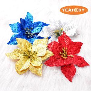 13CM 인공 크리스마스 꽃 머리 poinsettia 4 색 가짜 시뮬레이션 축제 장식 파티 장식
