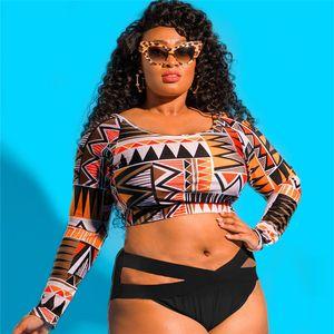 Bañador de mujer de manga larga de impresión africana del vendaje Bikini Lady Monokini traje de baño de una pieza más tamaño traje de baño 33sc W