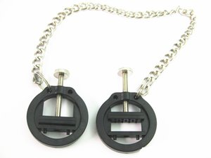 Weibliche nippel clips klemmen mit kette bdsm bondage getriebe fetisch play games erwachsene geschlechtsspielwaren für frauen kunststoff schwarz
