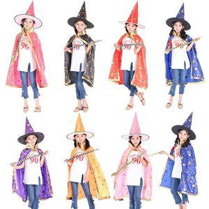 Дети Хэллоуин Ведьма Мастер плащ Косплей с Hat Cap звезды Хэллоуин Необычные платья 7 Styles