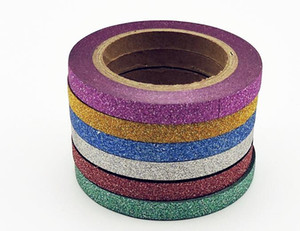 Washi Tape Glitter Color Cancelleria giapponese 0.5 * 6.5 meter Kawaii Paper Scrapbooking Strumenti di scuola nastri decorativi maschera spedizione gratuita 2016