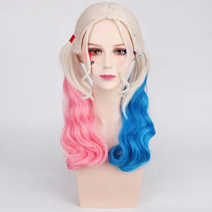 ZF Cosplay Harley Quinn Cosplay Wunch Bunches Twin Tails Pink Blonde Blue misto ombre acconciatura halloween costume party show