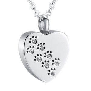 Cuore Keepsake stampa con Crystal nel mio Cuore Pet Cremation Urn collana del cane ciondolo Memorial Ashes Urn Jewelry