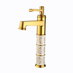 New Luxury Hotel Golden Faucet Full Brass European Basin Top Basin Faucet Hihg Quality Hot Cold Water Mixing Single Hole Faucet Wholesale