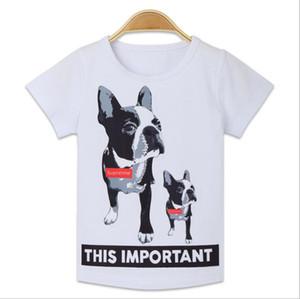Toptan Tasarımcı Marka Ünlü Lüks Kutusu Logosu Mektup Köpek Baskı Çocuklar Elbise çocuk Pamuklu Tişörtleri Yaz Tees Tops
