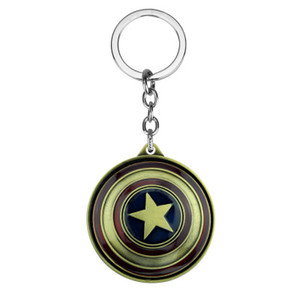 Marvel Avengers NEW Personality Fashion Keychain Movie Accessories Captain America Shield Rotating Keychain Superman Logo Toy