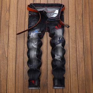 Уникальные мужские вышивка рваные джинсы модельер выстирал Slim Fit прямые джинсовые толстяк брюки большой размер 29-42 JB2039