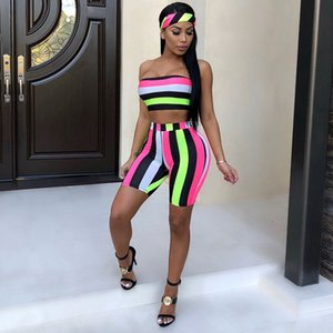 Striped Sexy Set de tres piezas Women Head Scarf + Tops de cultivos + Bodycon Shorts Trajes Boho Summer Beach Outfits 3 piezas de chándal