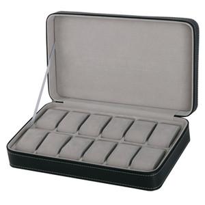 Protable 12 Slots Watch Box Aufbewahrungskoffer mit Reißverschluss-Multifunktions-Armband-Uhren anzeigen Casket Uhren Inhaber Sarg