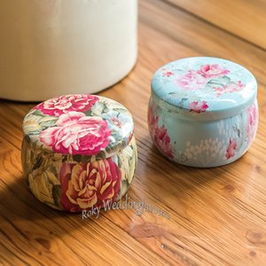 50CS Portable Flower Tea Tin Boxes Favors Party Decor Supplies Tambor en forma de latas del envase del té Paquete de regalo Wedding Shower Ideas