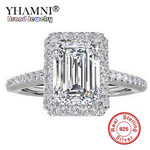 YHAMNI Fashion 100% Original Reines Silber 925 Ring Luxus Große 8mm 5A Zirkonia Verlobungsringe Kristall Schmuck Für Frauen ZR999