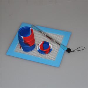 Sıcak satış 26 ml silikon yağ davul konteyner dabber aracı kuru ot kavanozlar için silikon İpuçları ile dab 14 * 11.5mm kare levhalar pedleri mat