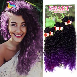 Extension de cheveux bouclés synthétiques 6 faisceaux par paquet tressant faisceaux de cheveux violet doré rouge vin cheveux naturels trames livraison gratuite UK USA