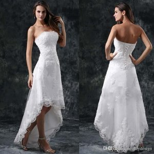 2019 Summer Beach Hi-Lo Full Lace A Line Wedding Dresses Strapless Appliques Short Formal Lace-up Back Vestidos Bridal Gowns