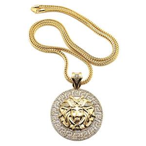 Хип-хоп длинное ожерелье 24K позолоченные Medusa аватар высококачественный кристалл хрустальный Иисус штука кулон мода ювелирные изделия для женщин мужчины XQ03